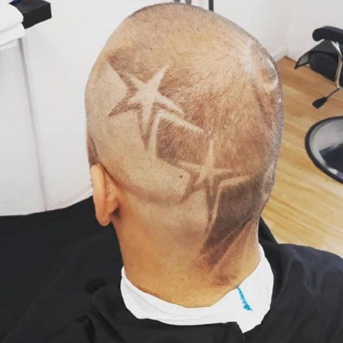 Shaved Side With Two Stars Design