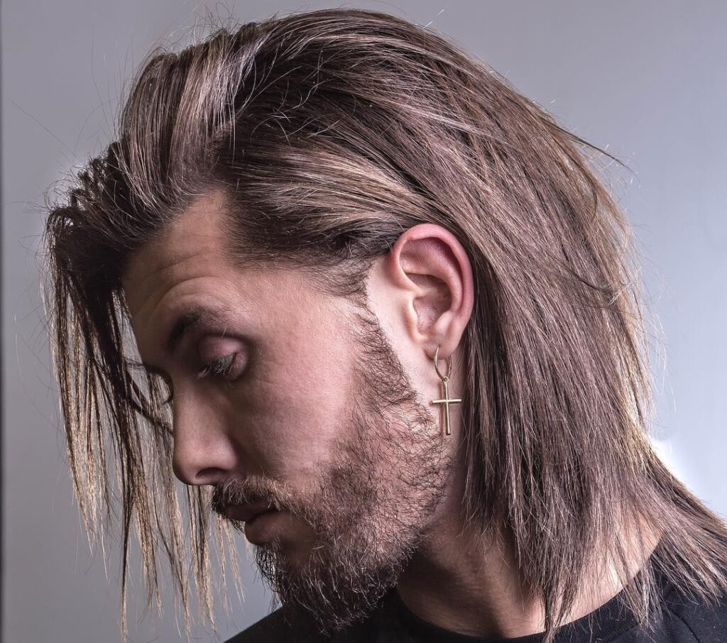 Simply Straight and Long feathered hair men