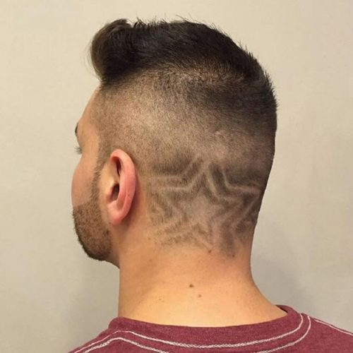 Skin Fade With Simple Star Designs Haircuts