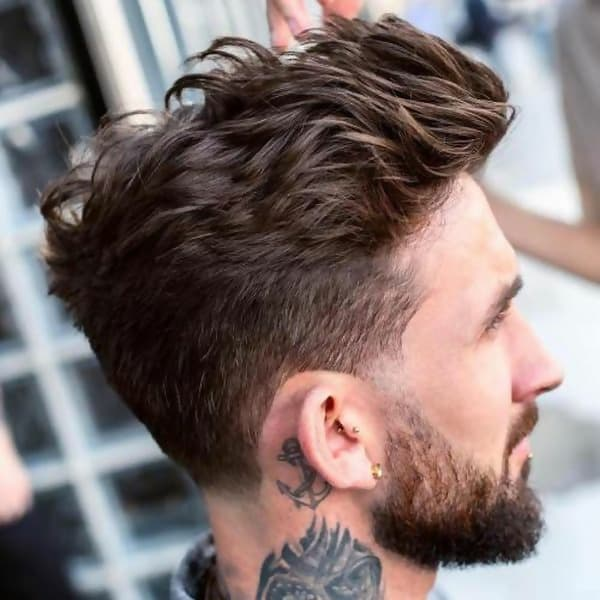 Tapered Fohawk feathered-hair-men